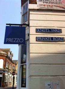 We arrive to beautiful sunshine at the Prezzo in Kent.