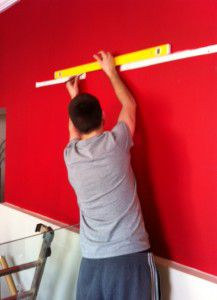 Colin measuring up our first few Hockney's.
