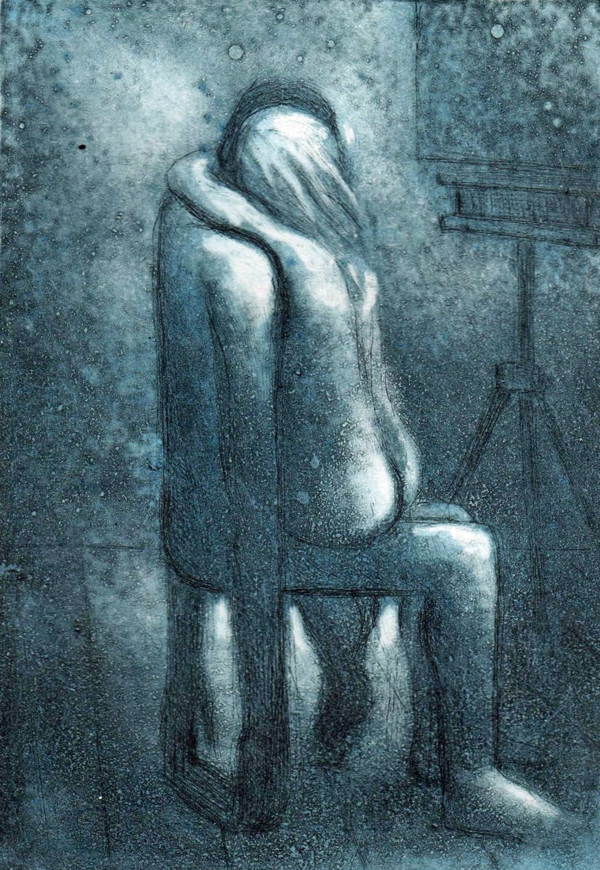 Evocative print in blue tones featuring a couple, the man envisioned as a supportive chair to the woman, whose arms are clasped around his neck