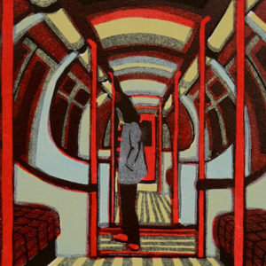 Downtown Train by Gail Brodholt linocut 18cm x 19.5cm edition 75.