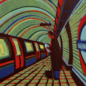 The Waiting Game by Gail Brodholt linocut 18cm x 19.5cm edition 75