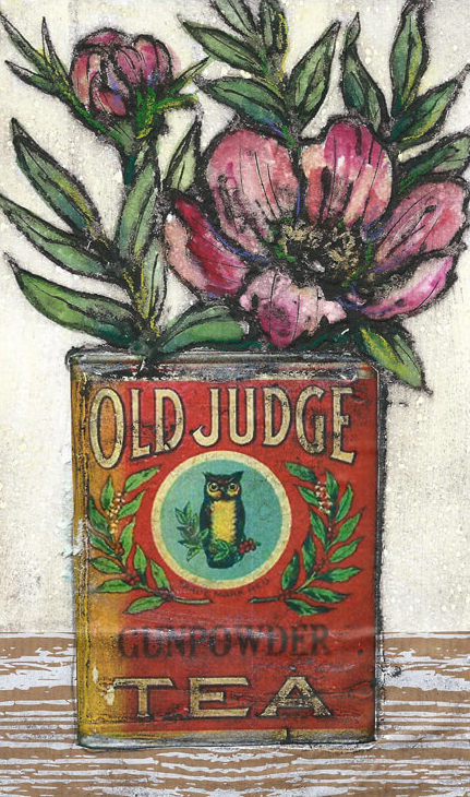 Tin of peonies - Vicky Oldfield