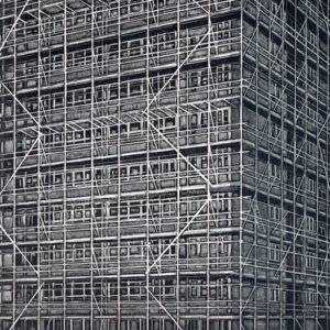 scaffolding on langford house - Louise Hayward
