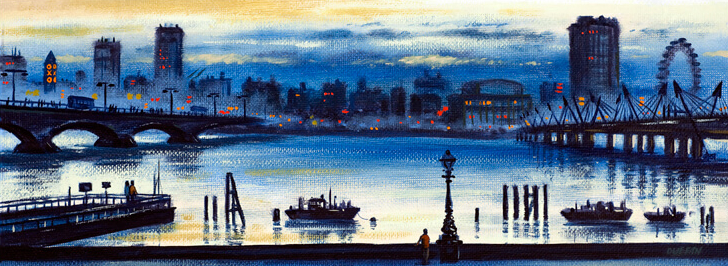 River Thames - Southbank from the Embankment - John Duffin