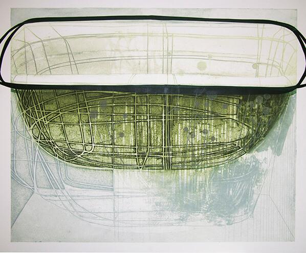 Katherine Jones, Rain Bowl, Collagraph and Block Print
