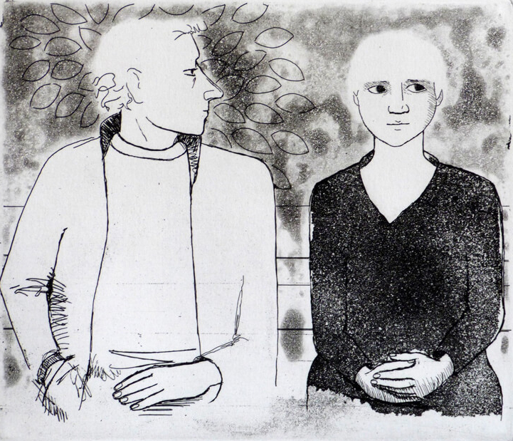 Black and white etching of a couple on a park bench, the man seemingly about to propose to the woman