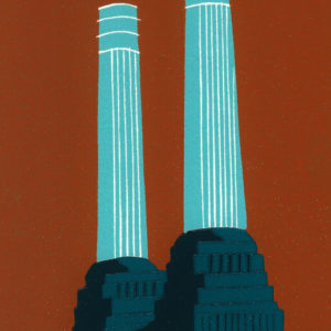 Battersea's Chimneys (teal) - Jennie Ing