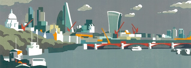 City of London Grey Print by Paul Catherall