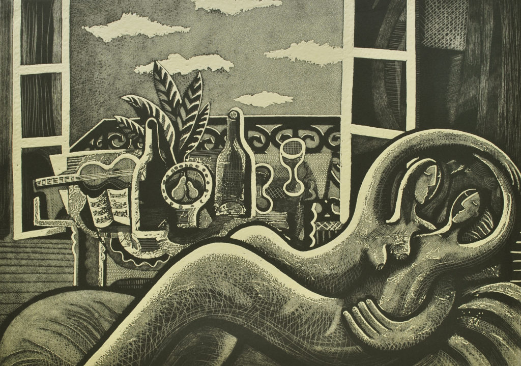 black and white etching of two lovers entwined by an open window