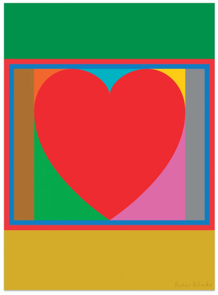 Peter Blake Pop Art screenprint of a red heart on a bright, graphic abstract background