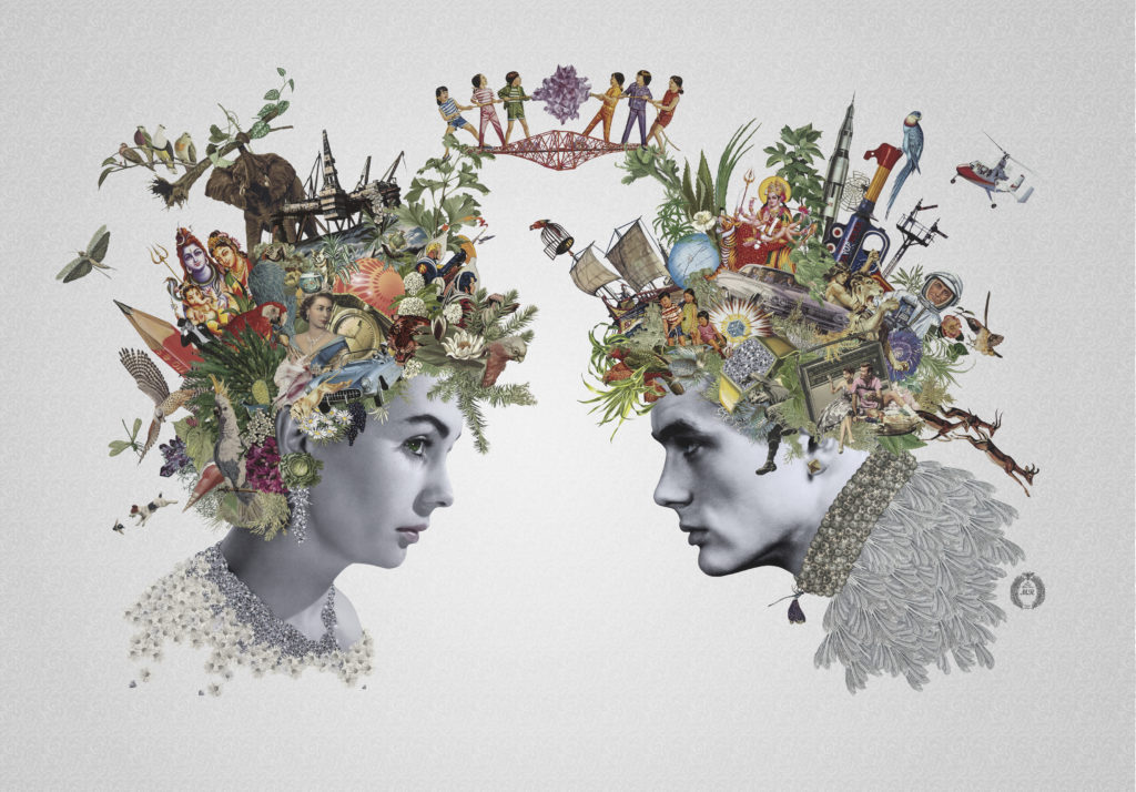Collage print of James Dean and Jean Simmons with elaborate technicolour floral headdresses