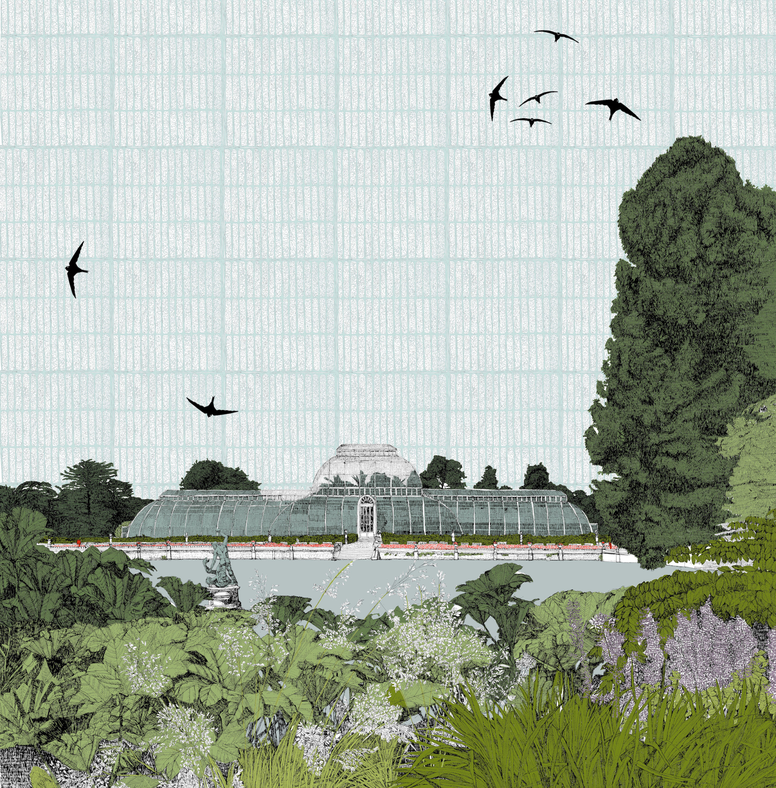 Screenprint of Kew Gardens glasshouse by Clare Halifax