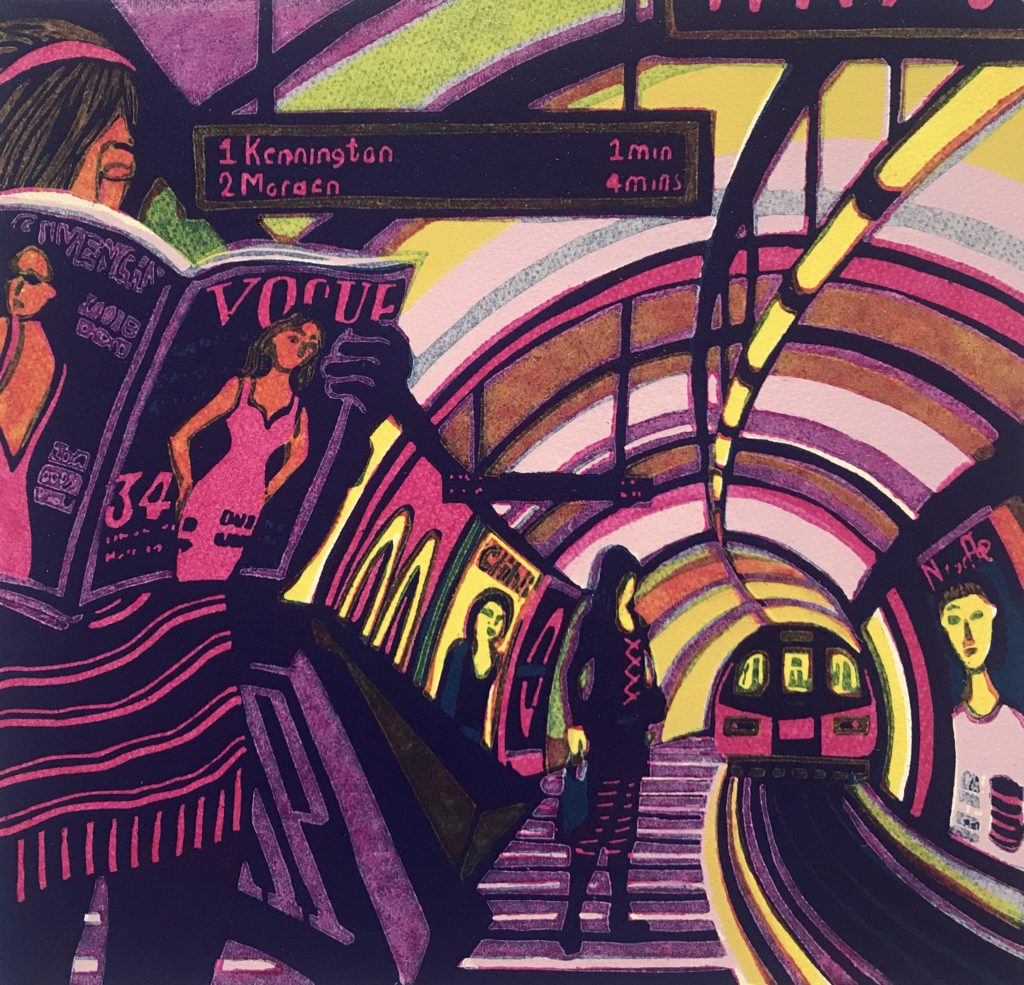 Linocut print of woman reading Vogue on the London Underground Northern Line