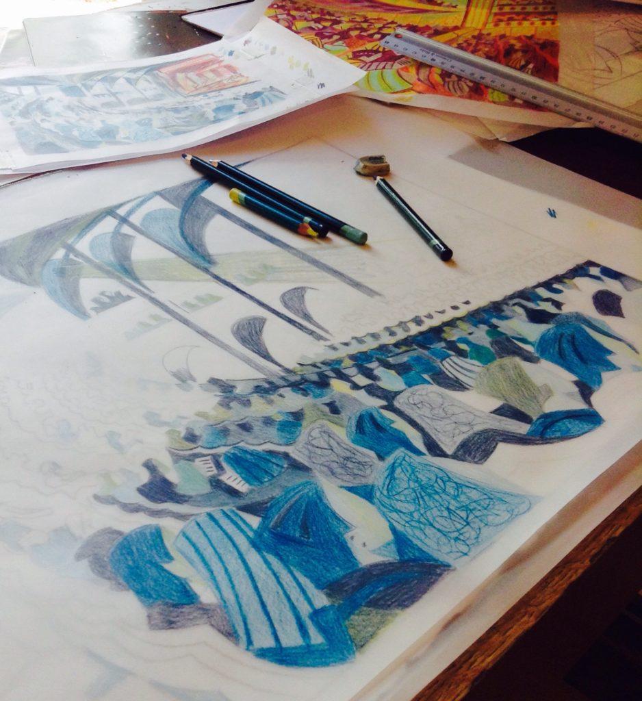Work in progress sketches by linocut printmaker Paul Cleden