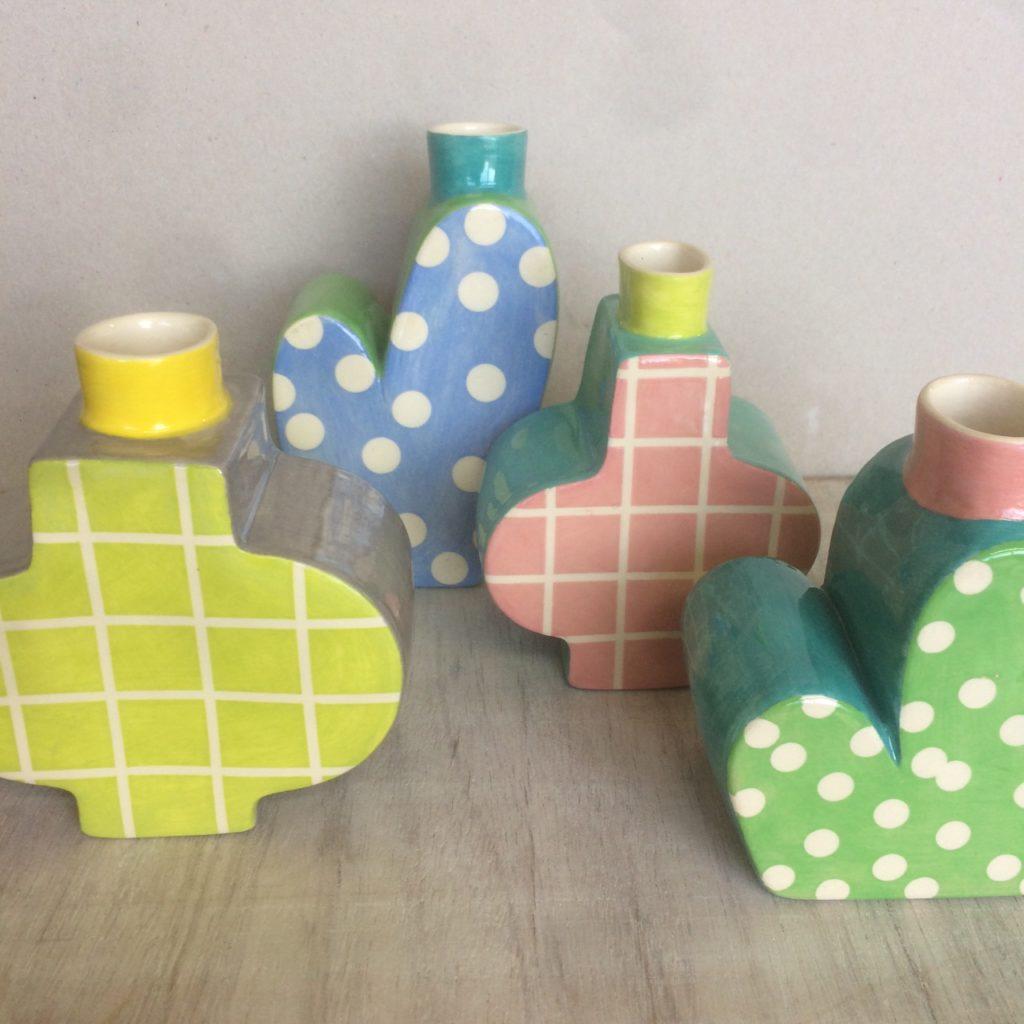 Retro style pastel pottery