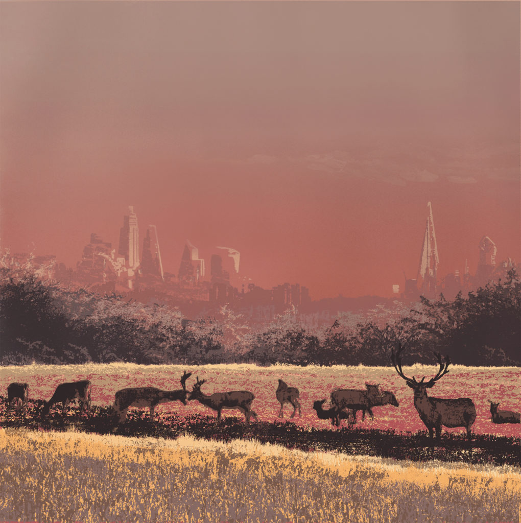 Screenprint of Richmond deer park in London by Emma Reynolds