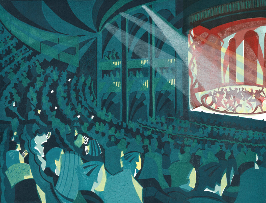 Linocut of London theatre by printmaker Paul Cleden