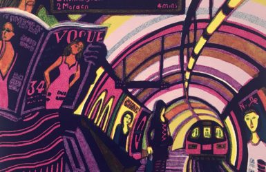 Gail Brodholt linocut of the Northern Line Tube travel journey