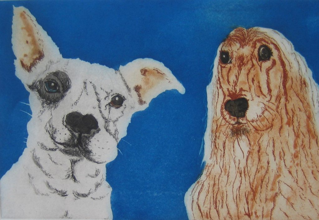 Etching of London dogs b y printmaker Sonia Rollo