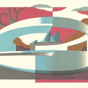 Linocut of Lubetkin modernist Penguin Pool at London Zoo by architectural printmaker Paul Catherall