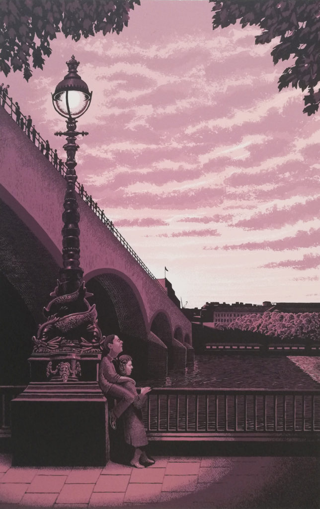 Screenprint of a couple by the Thames and Waterloo Bridge, evoking the Kinks song Waterloo Sunset