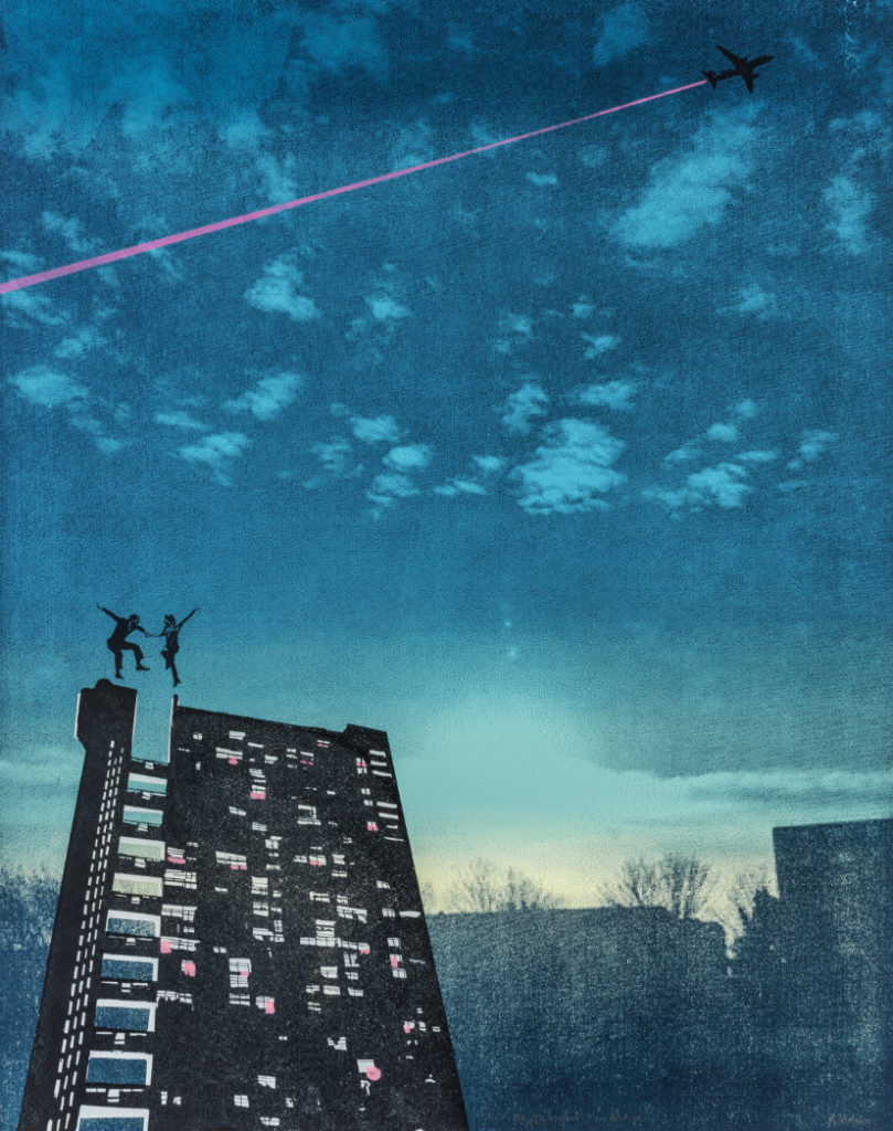 Screenprint of a Fred Astaire and Ginger Rogers-style couple dancing in the sky above Trellick Tower