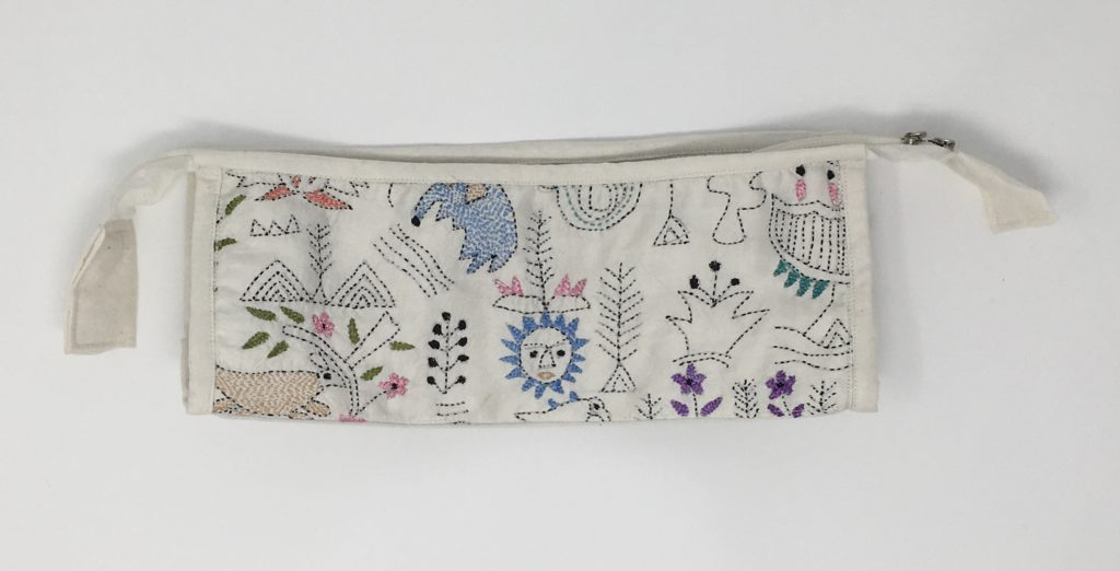 Embroidered cosmetics pouch