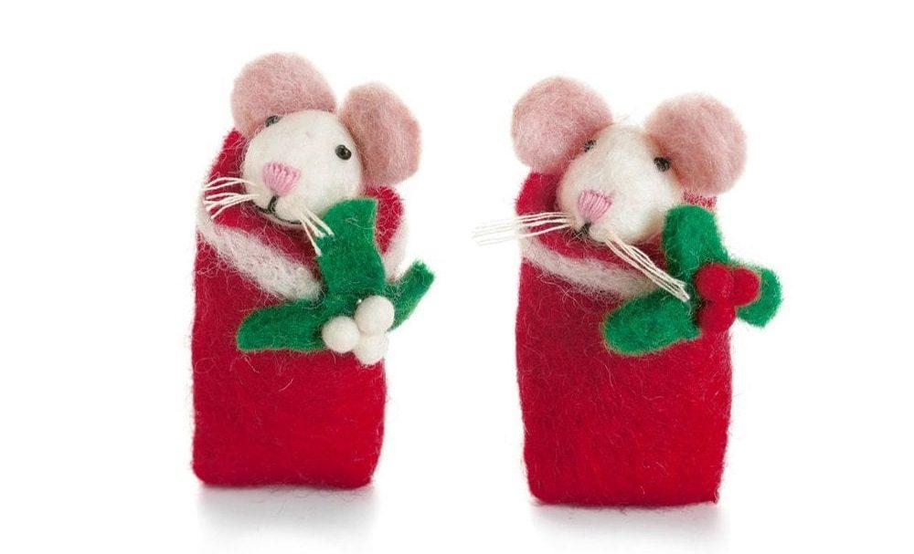 Felt mice christmas decorations