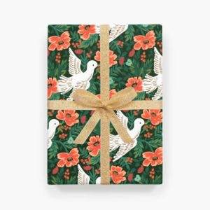 Christmas gift wrap in green and red with illustrations of doves and flowers